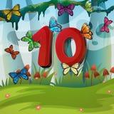 Number ten with 10 butterflies in garden Stock Photos