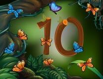 Number ten with 10 butterflies in the garden Stock Photo