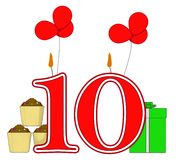 Number Ten Candles Mean Birthday Presents And Stock Photo
