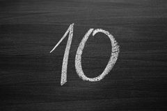 Number ten enumeration written with a chalk Stock Photo