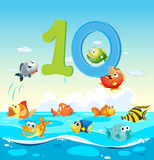 Number ten with 10 fish in the ocean. Illustration Royalty Free Stock Image