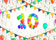 Number ten made up from colorful balloons on white background with confetti. Number ten made up from bright colorful balloons on white background with confetti Royalty Free Stock Photography