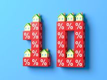 Number Ten With Miniature Houses And Red Percentage Blocks. 3d Illustration stock illustration
