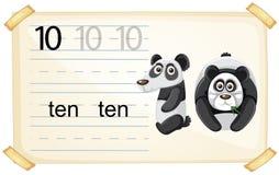 Free Number Ten Panda Worksheet Royalty Free Stock Images - 130368069