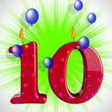 Number Ten Party Mean Numeral Candles Or Celebration Candles Stock Photo