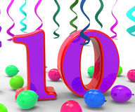 Number Ten Party Means Birthday Party Stock Images