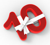 Number Ten With Ribbon Means Tenth Birthday Royalty Free Stock Images