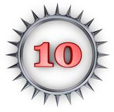 Prickles number. Number ten in ring with spikes on white background - 3d illustration Stock Image