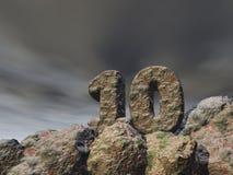 Number ten rock under dark sky Royalty Free Stock Photos
