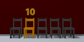 Number ten and row of chairs Royalty Free Stock Photos