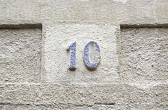 Number ten on a stone wall Royalty Free Stock Images