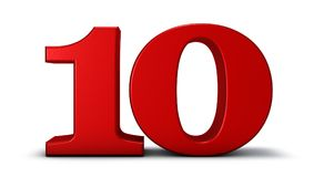 Number ten. On white background - 3d rendering Stock Photography