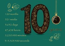Floral card with Number Ten and Pocket Watch Stock Images