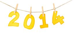 Number 2014  tether with rope show 2014 new year Royalty Free Stock Photos
