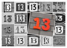 Number thirteen. Collage of prime number thirteen, one 13 in red on black and white background Stock Photo