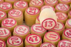 Number thirteen on wooden counter bingo Royalty Free Stock Image