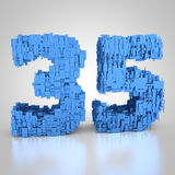 Number thirty-five made out of technical texture. 3D rendering: number thirty-five made out of technical texture Stock Images