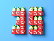 Number Thirty Five With Miniature Houses And Red Percentage Blocks. 3d Illustration stock illustration