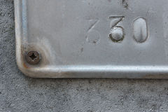 Number thirty. On a metallic plate stock images