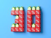 Number Thirty With Miniature Houses And Red Percentage Blocks. 3d Illustration royalty free illustration
