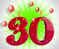 Number Thirty Party Mean Red Cake Candles Or Birthday Candles Royalty Free Stock Photo