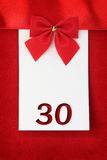 Number thirty. On red greeting card royalty free stock photo