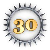 Prickles number. Number thirty in ring with spikes on white background - 3d illustration Stock Photos