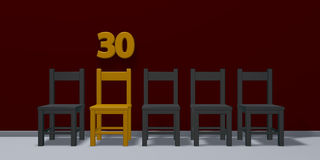 Number thirty and row of chairs Stock Photography