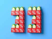 Number Thirty Three With Miniature Houses And Red Percentage Blocks. 3d Illustration vector illustration