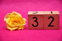Number thirty two with a yellow rose. On a pink background stock image