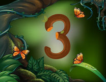 Number three with 3 butterflies in the garden Stock Photography