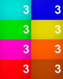 Number three 3 on colored metal. Background Royalty Free Stock Images