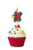 Number three cupcake. Cupcake iwth number three candle Stock Image