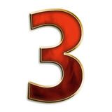 Number three in fiery red. Number 3 in fiery red & gold isolated on white series Royalty Free Stock Photography