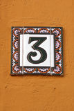 Number three house address plate number Stock Image