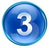 Number three icon blue. Number three icon blue, isolated on white background Royalty Free Stock Photo