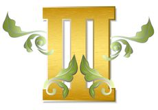 The number three. An illustration with a beautiful Roman numeral three made of golden metal Stock Image