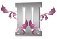 The number three. An illustration with a beautiful Roman numeral three made of silver metal Royalty Free Stock Image