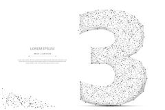 Number three low poly gray. Abstract mash line and point number three on white background with an inscription. Starry sky or space, consisting of stars and the Royalty Free Stock Image