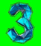 Number 3 three in low poly style blue color isolated on green background. 3d. Rendering Vector Illustration