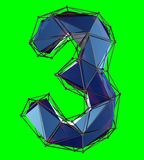 Number 3 three in low poly style blue color isolated on green background. 3d. Rendering stock illustration