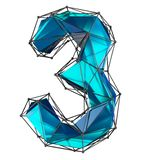 Number 3 three in low poly style blue color isolated on white background. 3d. Rendering royalty free illustration