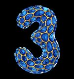 Number 3 three made of blue diamond isolated on black background. 3d Stock Photo