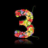 Number three made from fruits. Stock Photos