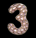 Number 3 three made of golden shining metallic 3D with pink glass isolated on black background. 3d rendering Stock Photos