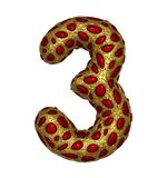 Number 3 three made of golden shining metallic 3D with red glass isolated on white background. vector illustration