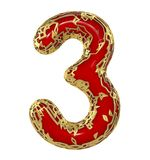 Number three 3 made of golden shining metallic with red paint isolated on white 3d. Rendering Royalty Free Illustration
