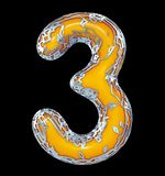 Number three 3 made of golden shining metallic with yellow paint isolated on black 3d. Rendering vector illustration