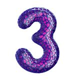 Number 3 three made of purple plastic with abstract holes isolated on black background. 3d. Rendering vector illustration