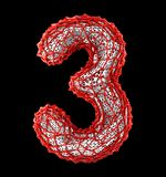 Number 3 three made of red plastic with abstract holes isolated on black background. 3d. Rendering vector illustration